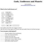 Gods, Goddesses and Planets Worksheet