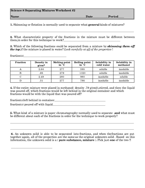 Separating Mixtures Lesson Plans Worksheets Reviewed By Teachers