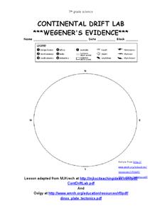 continental drift lab wegener 39 s evidence worksheet for 7th grade lesson planet. Black Bedroom Furniture Sets. Home Design Ideas