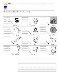 Review of Initial Sounds: F, G, H, Q Worksheet