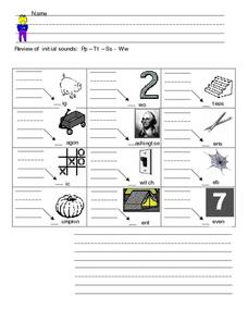 Review of Initial Sounds: P, T, S, W Worksheet