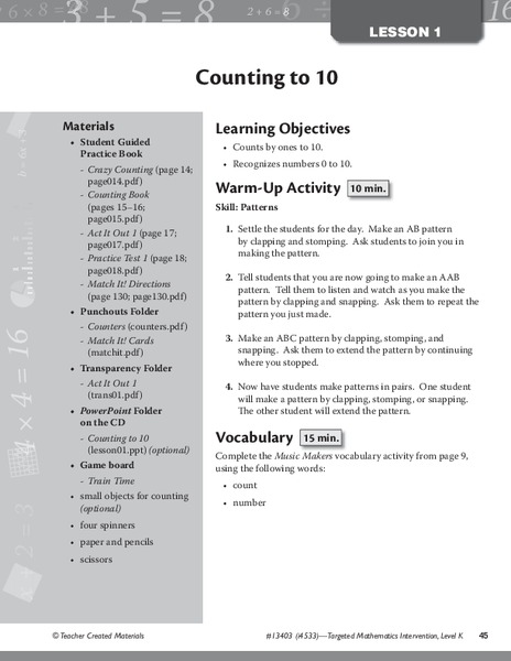 Counting to 10 Lesson Plan
