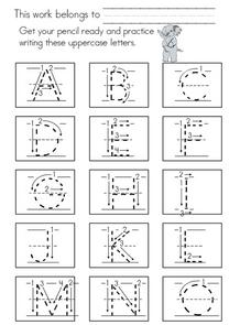 Practice Writing Letters A-L Worksheet