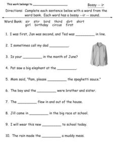 """Ir"" Activity Worksheet Worksheet"