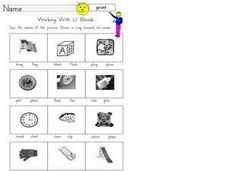 Working with Ll Blends Worksheet