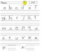Printing Lowercase Alphabet Worksheet