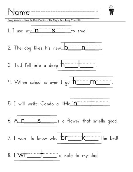Long Vowels, Silent E Rule Practice Worksheet for 1st ...