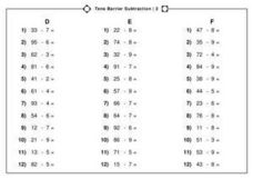 Tens Barrier Subtraction/2 Worksheet