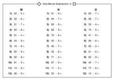 Tens Barrier Subtraction | 5 Worksheet