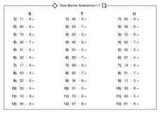 Tens Barrier Subtraction | 7 Worksheet