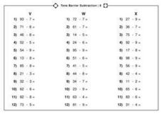 Tens Barrier Subtraction Worksheet
