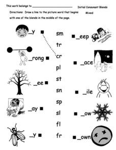 Initial Consonant Blends Match Worksheet