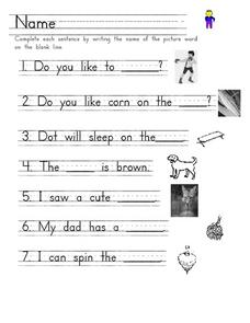 Name the Picture Word Worksheet