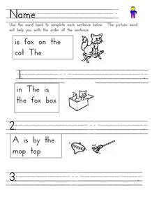 Sentence Writing With Picture Word Worksheet