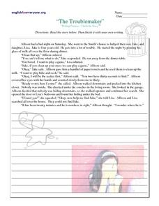 The Troublemaker: Writing Practice Worksheet