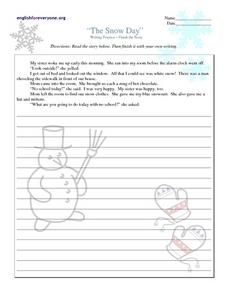 The Snow Day: Writing Practice Worksheet
