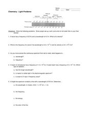 Light Problems Worksheet for 9th - 12th Grade | Lesson Planet