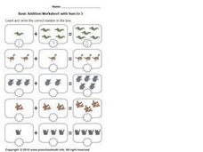 Basic Addition with Sum to 5, #5 Worksheet