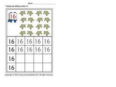 Tracing and Writing the Number 16 Worksheet