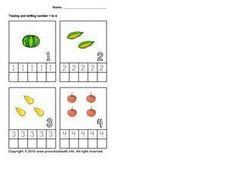Tracing and Writing the Numbers 1-4 Worksheet