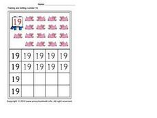 Count, Trace, and Print the Number Nineteen Worksheet