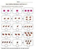 Basic Addition with Sum to 5, #6 Worksheet