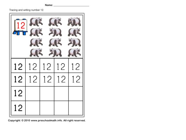 Tracing And Writing Number 12 Worksheet For Kindergarten