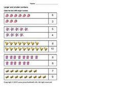 Larger and Smaller Numbers: Up to 10 Worksheet