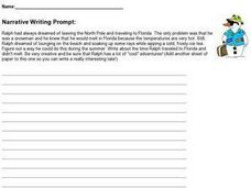 Narrative Writing Prompt - Ralph The Snowman Worksheet