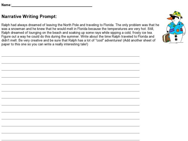 Narrative Writing Prompt - Ralph The Snowman 3rd - 4th Grade ...
