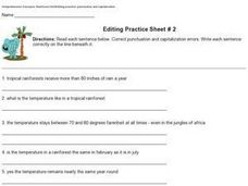 Editing Practice Sheet #2 - Punctuation and Capitalization Worksheet