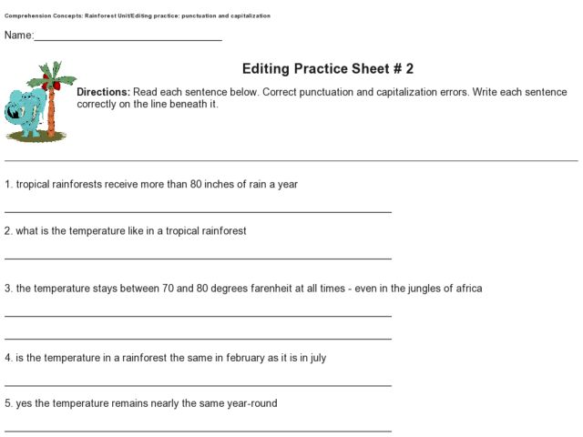 Editing Practice Sheet 2 Punctuation and Capitalization 4th – Capitalization Worksheets 4th Grade