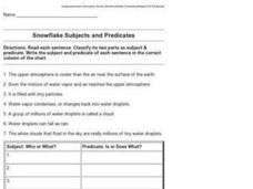 Snowflake Subjects and Predicates Worksheet