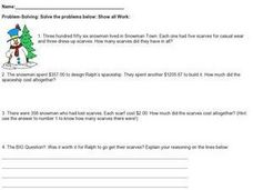 Snowman Math: Word Problems Worksheet
