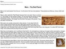 Reading Comprehension Sheet #5: Mars Worksheet