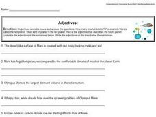 Identifying Adjectives: Mars Worksheet