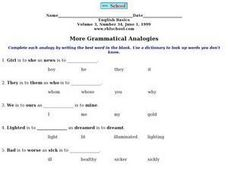 More Grammatical Analogies Worksheet