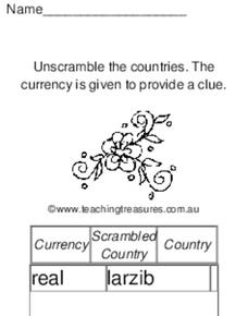 Countries and Currency Worksheet