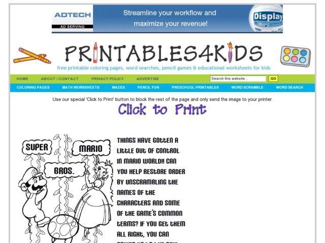 Math Worksheets » Mario Math Worksheets - Printable Worksheets ...
