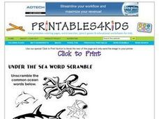 Under the Sea Word Scramble Worksheet