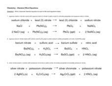 Chemical Word Equations Lesson Plan
