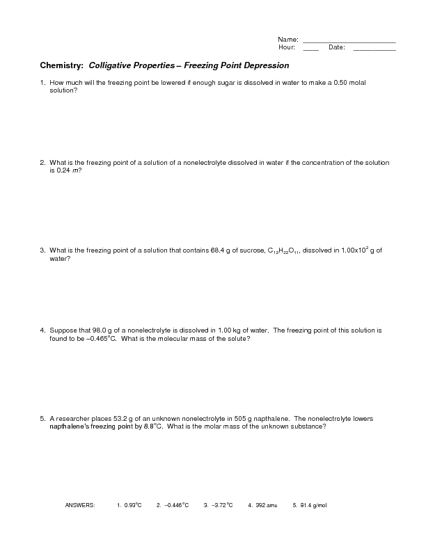 Colligative Properties - Freezing Point Depression Worksheet for ...