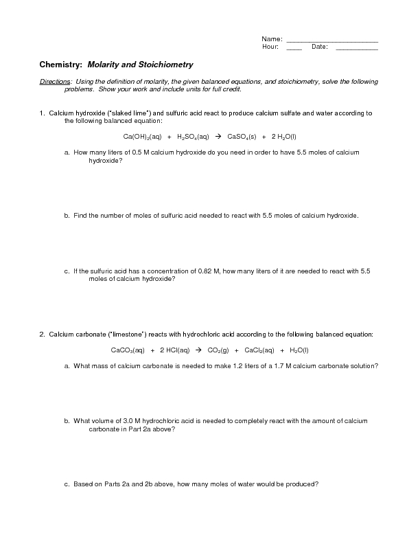 Chemical Equations And Stoichiometry Worksheet Jennarocca – Molarity Worksheet Chemistry
