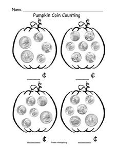 Pumpkin Coin Counting Worksheet