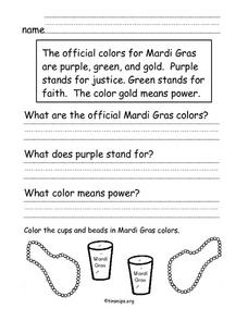 Mardi Gras Compare Worksheet
