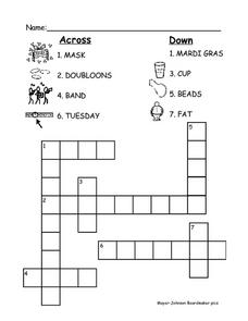 Mardi Gras Crossword Worksheet