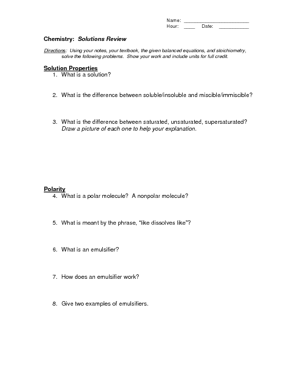 Solutions Review 10th 12th Grade Worksheet – Solutions Worksheet Chemistry