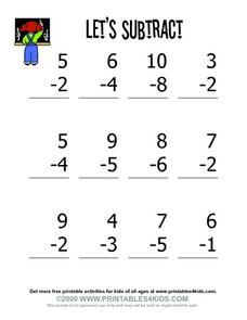 Let's Subtract Worksheet