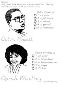 Black History: Celebrities Worksheet