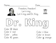 Dr. King Coloring Activity Worksheet